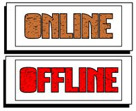 Set of banners with words online and offline isolated Royalty Free Stock Photography