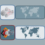 Set of banners with world map, cogwheels, squares and electronic. Abstract graphic, design web banner; Header layout template; Set of banners with world map stock illustration