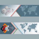 Set of banners with world map, cogwheels, squares and electronic circuits stock illustration