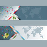 Set of banners with World map and Hexagonal chemical structure, green pills and apple Royalty Free Stock Photos