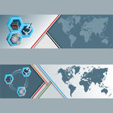 Set of banners with World Map and Knowledge translation in research findings Royalty Free Stock Image