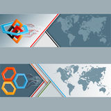 Set of banners with world map, three dimensions arrangement with hexagons, squares and electronic circuits Stock Photo