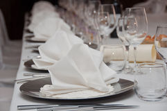 Set banquet table. In white Stock Images
