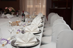 Set banquet table. In white Royalty Free Stock Image