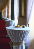 Set banquet tables. In castle hall Royalty Free Stock Image