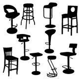 Set of bar Armchairs Silhouettes Royalty Free Stock Photo
