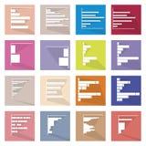 Set of 16 Bar Chart Icons Banner Stock Image