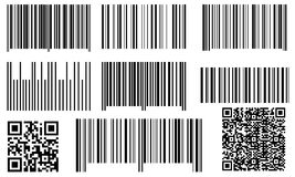 Set of bar codes and QR codes Stock Photos