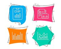 Bar diagram, Report document and Vacancy icons. Investment sign. Set of Bar diagram, Report document and Vacancy icons. Investment sign. Statistics infochart Royalty Free Stock Image