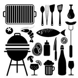 Set of barbecue food and utensils black icons, isolated. Objects Royalty Free Stock Photos
