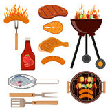 Set of barbecue grill icons Royalty Free Stock Image