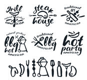 Set of barbecue labels, badges, and design elements Stock Photography