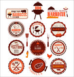 Set of barbecue labels. Isolated on white background Royalty Free Stock Photo