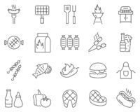Set of barbecue line vector icons. stock illustration