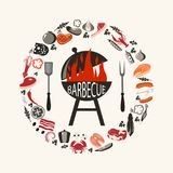 Set of barbecue objects. vector illustration