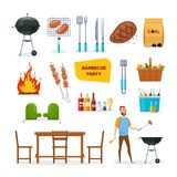 Set of different objects for modern barbecue party. Set for barbecue party. BBQ, mangal with barbecue, cutlery, grill meat, chicken, vegetables, fire, baskets Royalty Free Stock Photo