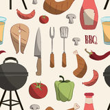Set of barbecue pattern Royalty Free Stock Photos