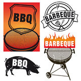 Set of barbecue signs Stock Image