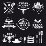 Set of barbecue steak house grill bar labels badges emblems and design elements. Vector vintage illustration. Stock Photo