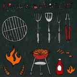 Set of Barbecue Tools: BBQ Fork, Tongs, Grill with Meat, Fire, Ketchup, Bull Horns.  on a Black Chalkboard. Set of Barbecue Tools: BBQ Fork, Tongs, Grill with Stock Photo