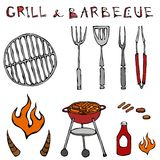 Set of Barbecue Tools: BBQ Fork, Tongs, Grill with Meat, Fire, Ketchup, Bull Horns. Isolated On a White Background. Realistic Dood. Set of Barbecue Tools: BBQ Stock Photos