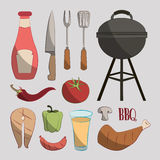 Set of barbecue Stock Photography