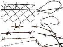 Set barbed wire fence protection isolated on white. For background texture Stock Photo