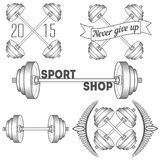 Set of barbells and dumbbell Royalty Free Stock Photo