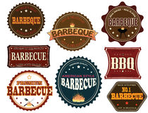 Set of barbeque labels. And elements on white, vector illustration stock illustration
