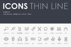 BARBEQUE Thin Line Icons. Set of BARBEQUE Thin Line Vector Icons and Pictograms royalty free illustration