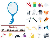 Set of 24 Barber Icons Royalty Free Stock Photo