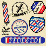 Set of barber shop labels and stamps Royalty Free Stock Photo