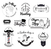 Set barber shop logo, labels, badges and design element Royalty Free Stock Images