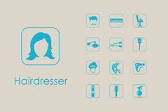 Set of barber shop simple icons Royalty Free Stock Photos