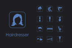 Set of barber shop simple icons Royalty Free Stock Images