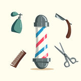 Set of barber shop tools. Cartoon vector illustration Royalty Free Stock Photo