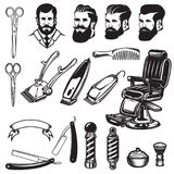 Set of barbershop design elements. scissors, shaving blades, barber. Set of barbershop design elements. scissors, shaving blades, barber chair, clipper. Design Stock Photos
