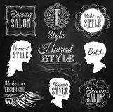 Set Barbershop elements. Chalk. Royalty Free Stock Photos