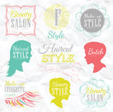 Set Barbershop elements. Color chalk. Set Barbershop, scissors, shaving brush, razor, cylinder, in a retro style and stylized for the drawing with color chalk Royalty Free Stock Photos