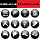 Set of barbershop glossy icons Stock Image