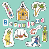 Set of Barcelona icons Royalty Free Stock Photography