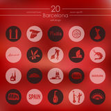 Set of Barcelona icons. Barcelona modern icons for mobile interface on blurred background Stock Photo