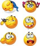 set of barch emotion smiles selfkiller slee Royalty Free Stock Image