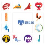 Set of barclays bank, , fx white, talk show, pack wolf, general trading, gastroenterology, corn dog, tiki icons. Set Of 13 simple  icons such as barclays bank Royalty Free Stock Images