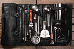 Set of barman equipment in case. Set of barman equipment in black case stock photos