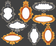 Set of baroque frames. Set of four baroque frames in two different colorways. The golden/orange ones have regular oval inside frames; the grey ones have Royalty Free Stock Photos