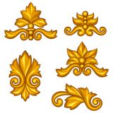 Set of baroque ornamental antique gold scrolls and Royalty Free Stock Photo
