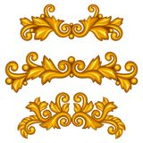 Set of baroque ornamental antique gold scrolls and Stock Images