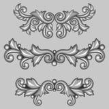 Set of baroque ornamental antique silver scrolls Stock Photos