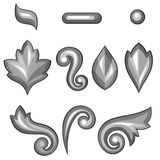 Set of baroque ornamental floral silver elements Royalty Free Stock Images
